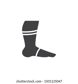 Leg with orthopedic bandage vector icon. Foot ankle brace filled flat sign for mobile concept and web design. Ankle with bandage glyph icon. Symbol, logo illustration. Vector graphics