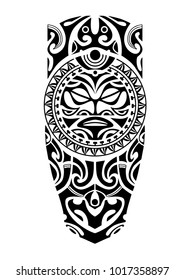 leg tattoo with sun maori style
