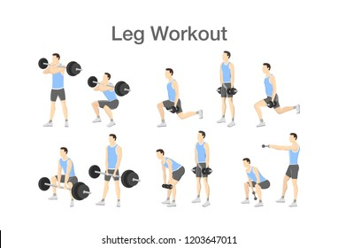 Leg workout set for men with dumbbell and barbell. Sport exercise for muscle building and fit body. Fitness training. Isolated vector illustration