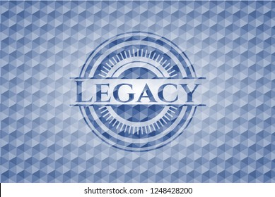 Legacy blue emblem or badge with abstract geometric pattern background.