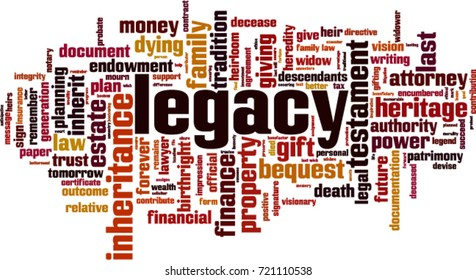 Legacy word cloud concept. Vector illustration