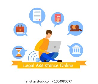 Legal Advisor Online Service Web Banner Template. Law Assistant, Lawyer Cartoon Character. Jurisprudence University Faculty, Student Preparing for Exams, Lesson. Justice, Judgement Webinar