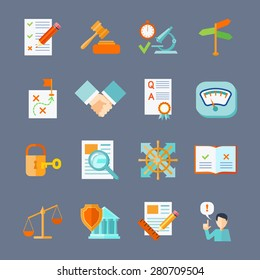 Legal compliance deal protection and copyright regulation flat icons set isolated vector illustration