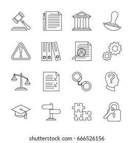 Legal compliance and regulation vector line icons. Law and legal regulation, document and governance illustration