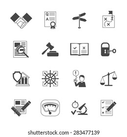 Legal compliance terms abidance work policy black icons set isolated vector illustration