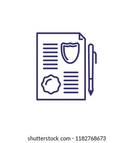 Legal document line icon. Contract, insurance document, warrant. Justice concept. Vector illustration can be used for topics like legal system, business, deal