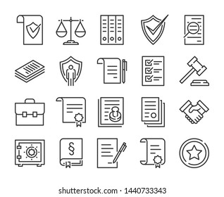 Legal documents icon. Law and justice line icon set.