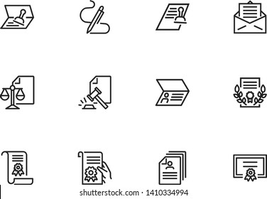 Legal documents line icon set. Passport, ID, visa, diploma. Document concept. Can be used for topics like certificate, human rights, permission