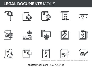 Legal documents vector line icons set. Code of laws, notary public, advocacy, certificate, license. Editable stroke. Perfect pixel icons, such can be scaled to 24, 48, 96 pixels.