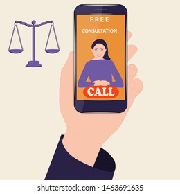 Legal free consultation - a smartphone in the male hand - on the screen a female lawyer - a purple-orange background - vector.