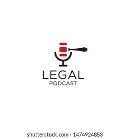 Legal Gavel or law firm hammer and old microphone or podcast logo design vector icon illustration inspiration template