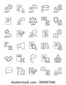 Legal icons, linear, monotone. Vector icons of legal services. Monotone, linear, flat icons on white background.