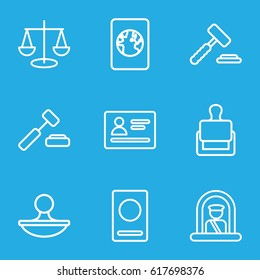 Legal icons set. set of 9 legal outline icons such as airport officer, passport, stamp, auction hummer