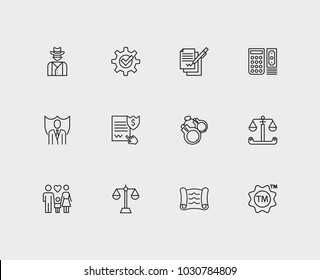 Legal icons set. Lawyer and legal icons with penalty, business and contract. Set of elements including weigh for web app logo UI design.