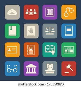 Legal, law and justice icons set. Flat design.