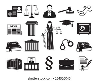 Legal & law set icons. Vector illustration eps 10, isolated on white background. Can be used for infographic chart process the justice firm, Notary Company, business card lawyer