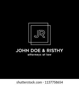 legal logos, initials JR, business logo design inspiration