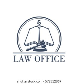 Legal office icon with symbol of judge gavel, justice law code, silcrow section sign or paragraph on open book. Lawyer or advocate emblem for attorney or advocacy and juridical counsel or no