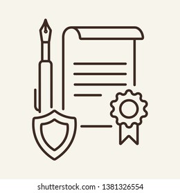 Legal paper line icon. Warrant, certificate, contract. Justice concept. Vector illustration can be used for topics like business, education, legislation