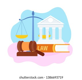 Legal Profession, Subjects Symbols Illustration. Judge Gavel, Scales, Law Cases Book. Judicial System, Legislative Authority, Court. Lawyer School, Judgement Faculty. US Courthouse Building