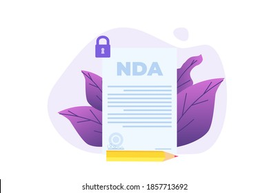 Legal restrictions,  non-disclosure agreement contract or NDA icon.Vector illustration.
