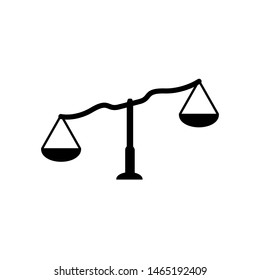 Legal scale vector icon. symbol of justice a sign of a heavy balance of punitive marks