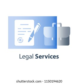 Legal services, contract terms and conditions creation, signing judicial document, letter of attorney, solemn written declaration, ownership registration, paper sheet and pen symbol, vector flat icon