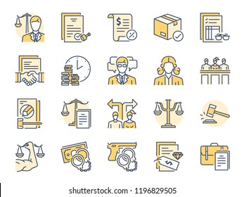 Legal services filled color line icon set. Included icons as law, lawyer, judge, court, advocacy and more.