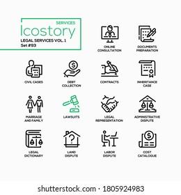 Legal services - line design style icons set. Administrative, labor and land disputes. Online consultation, documents preparation, civil and inheritance cases, debt collection, lawsuit, representation