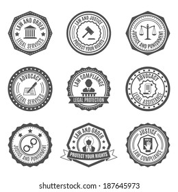 Legal services rights protect advocacy service labels set isolated vector illustration