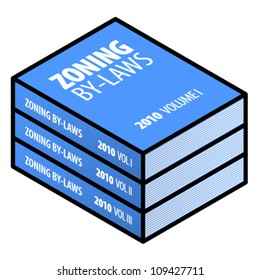 Legal/government concept: zoning by-laws in three volumes.