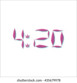 Legalize marijuana 4 20 simple icon on white background