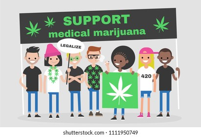 Legalize marijuana. Manifestation. Young adults holding banners and placards. Activists. Social issues. Modern lifestyle.  Community claims. Flat editable vector illustration, clip art