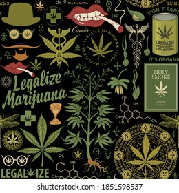 Legalize marijuana. Seamless pattern in retro style with cannabis plant, hemp leaves, hipster face, smoking mouth and other sketches on a black background. Vector repeatable hand-drawn illustration