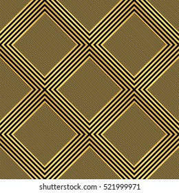 legant gold and black diamond background paper shape. Vector crisscross lines pattern backdrop.