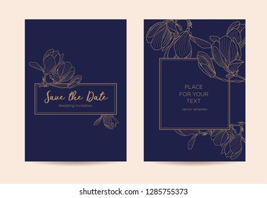legant wedding invitation  with magnolia flowers. Golden graphic flowers on a dark blue background. Vector template for design of invitations, restaurant menu or spa.