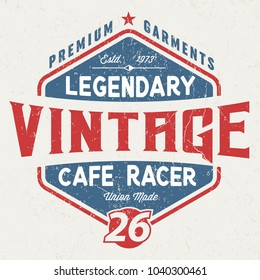 Legendary Cafe Racer - Tee Design For Print