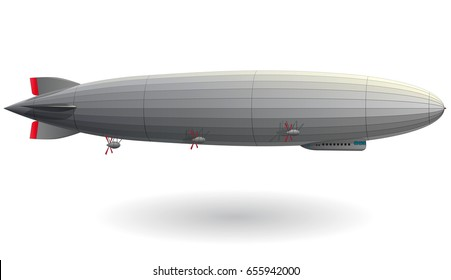 Legendary huge zeppelin airship filled with hydrogen. Stylized flying balloon. Big dirigible with propellers and rudder. Long zeppelin, white background, rigid airship. Isolated vector illustration.