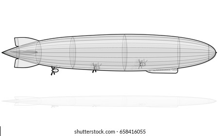 Legendary huge zeppelin airship filled with hydrogen. Outlined stylized flying balloon. Big dirigible, propellers, rudder. Long zeppelin, white background, rigid airship. Isolated vector illustration.