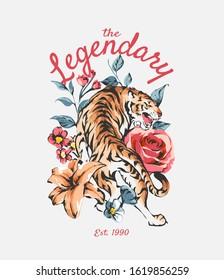 legendary slogan with tiger on wild flowers illustration background