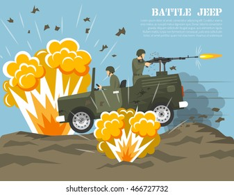 Legendary us army four-wheel drive jeep in battle environment flat military poster print abstract vector illustration