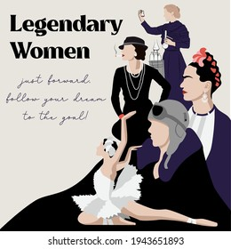 Legendary women in history poster. Amelia Earhart first female aviator. Coco Chanel vector sketch portrait illustration. Frida Kahlo Mexico. Maya Plisetskay ballet dancer. Marie Curie woman scientist.