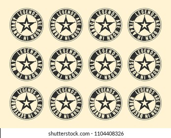 Legends are born in various months - vintage t-shirt round textured stamp set. Grunge texture design for badge, applique, label, t-shirts print, jeans and casual wear. Vector illustration.