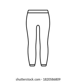 Leggings with elastic at waist and ankles. Linear icon of unisex tight-fitting pants. Black simple illustration of thermal underwear, trousers. Contour isolated vector pictogram, white background