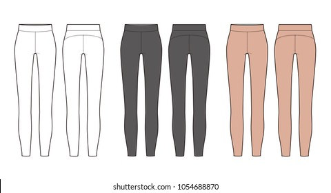leggings pants fashion vector illustration flat sketches template