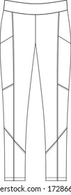 leggings pants fashion vector illustration flat sketches template. active wear legging.
