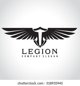 Legion, Eagle logo, Angel Logo, Vector Logo template.