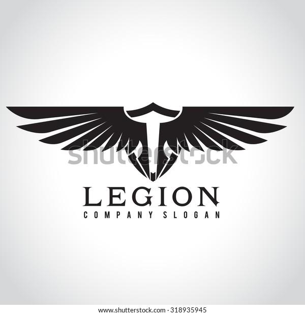 Legion Eagle Logo Angel Logo Vector Stock Vector (Royalty