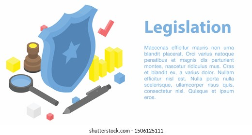 Legislation concept banner. Isometric illustration of legislation vector concept banner for web design
