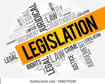 Legislation word cloud collage, business concept background